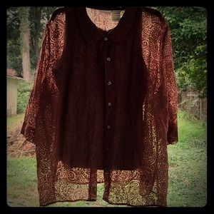 Brown sheer button up